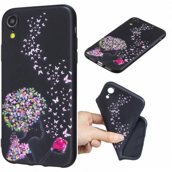SLIM BLACK FLOWER LADY - APPLE IPHONE XR