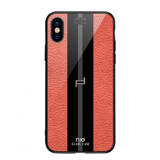 NXE GLASS LEATHER ORANŽEN - APPLE IPHONE XS MAX