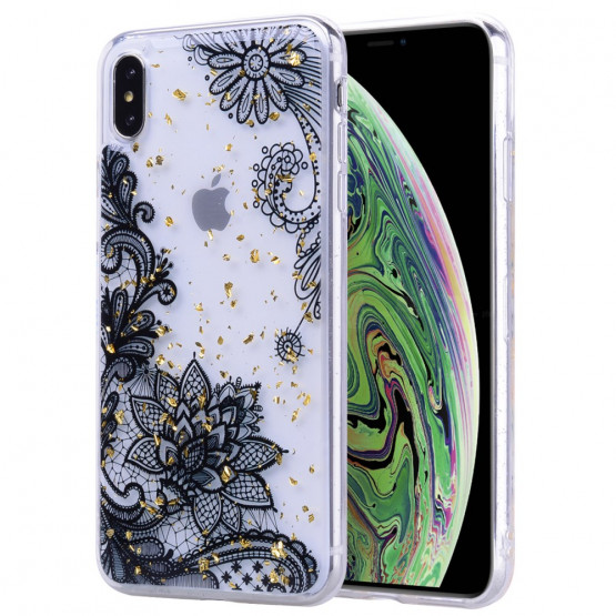 GOLD GLITTER ČRNA ČIPKA OVITEK ZA APPLE IPHONE XS MAX