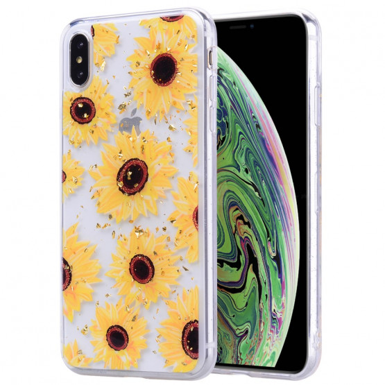 GOLD GLITTER SONČNICE OVITEK  ZA APPLE IPHONE XS MAX