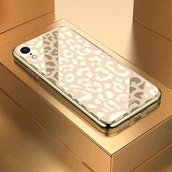 GLASS DIVJI LEOPARD ZLAT OVITEK ZA APPLE IPHONE XR
