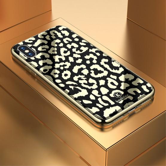 GLASS DIVJI LEOPARD ČRN OVITEK ZA APPLE IPHONE X / XS