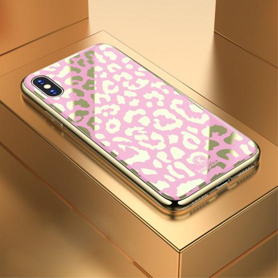 GLASS DIVJI LEOPARD ROZA OVITEK ZA APPLE IPHONE X / XS