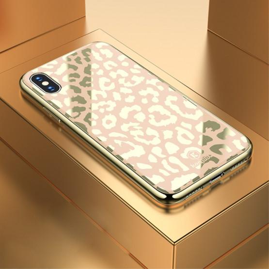 GLASS DIVJI LEOPARD ZLAT OVITEK ZA APPLE IPHONE X / XS