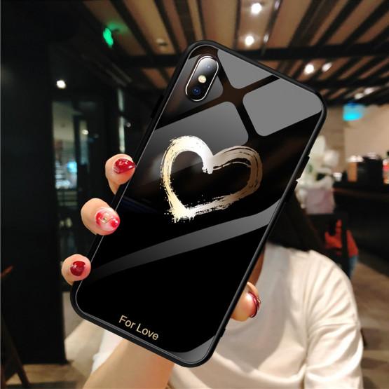 GLASS GOLDEN HEART ČRN OVITEK ZA APPLE IPHONE XS MAX