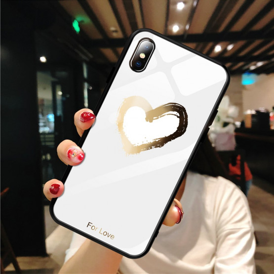 GLASS GOLDEN HEART BEL OVITEK ZA APPLE IPHONE XS MAX