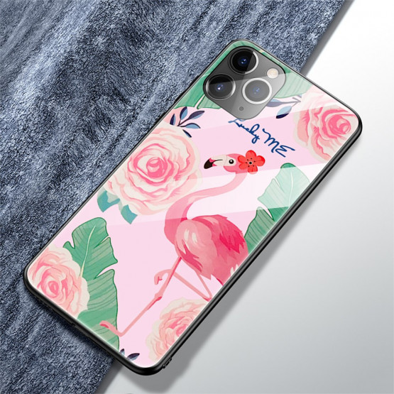 GLASS ROŽNATI FLAMINGO OVITEK ZA APPLE IPHONE 11 PRO MAX