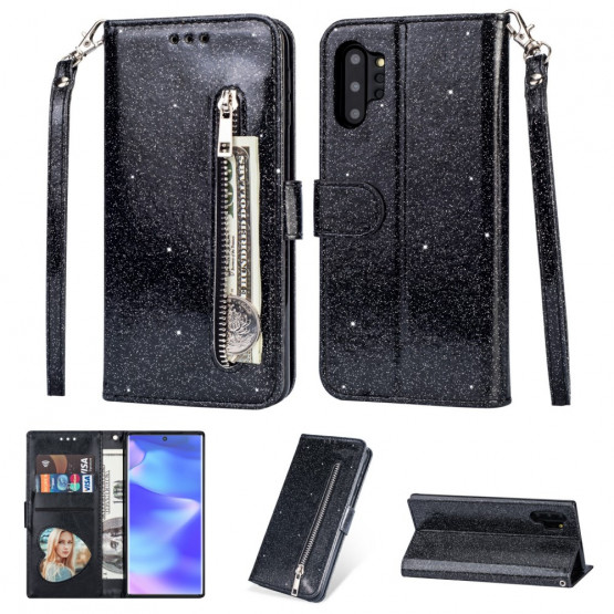 GLITTER ZIPPER BLACK ETUI ZA SAMSUNG GALAXY NOTE 10 PLUS