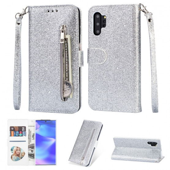 GLITTER ZIPPER SILVER ETUI ZA SAMSUNG GALAXY NOTE 10 PLUS