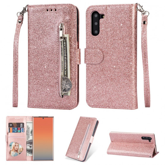 GLITTER ZIPPER ROSE GOLD ETUI ZA SAMSUNG GALAXY NOTE 10