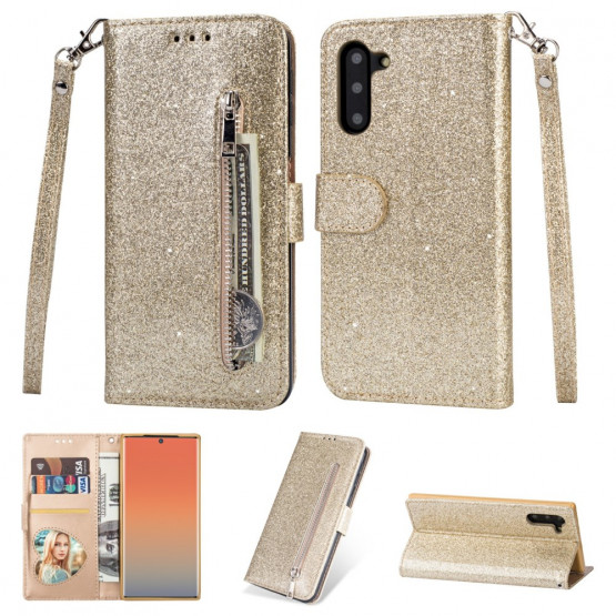 GLITTER ZIPPER GOLD ETUI ZA SAMSUNG GALAXY NOTE 10