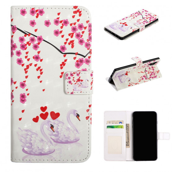REALISTIC SWAN AND FLOWERS ETUI ZA SAMSUNG GALAXY NOTE 10 PLUS