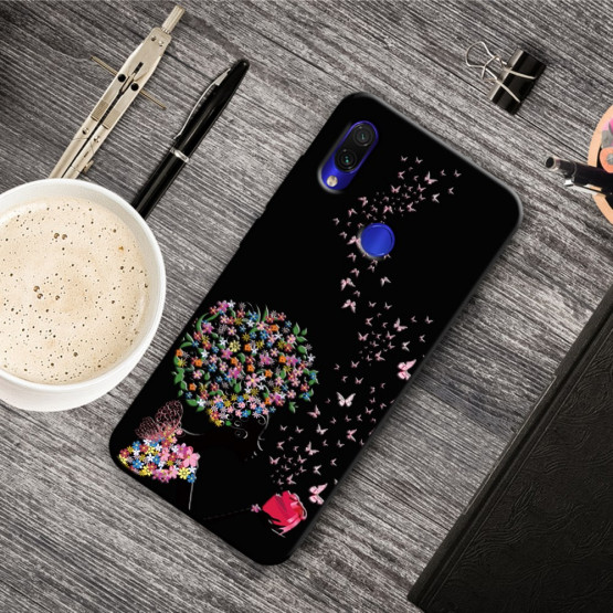 SLIM BLACK FLOWER LADY - XIAOMI REDMI NOTE 7