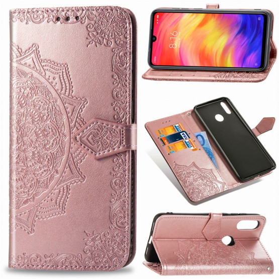 ROYAL MANDALA ROSE GOLD ETUI XIAOMI REDMI NOTE 7