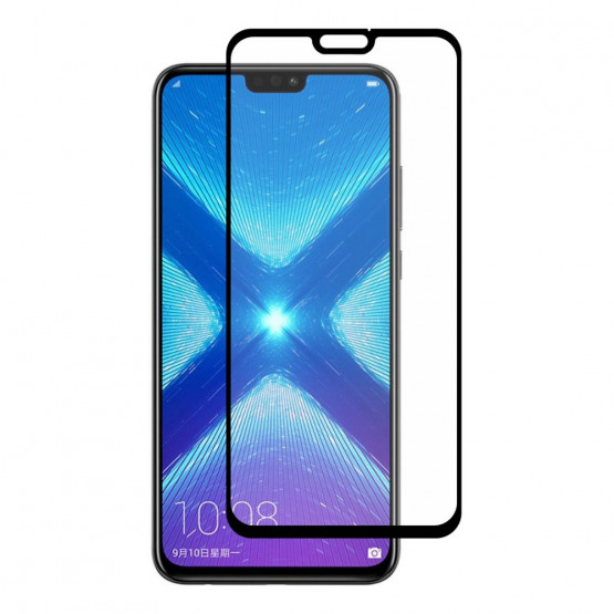 HUAWEI HONOR 8X FIT KALJENO STEKLO S POTISKOM ČRN - FULL GLUE
