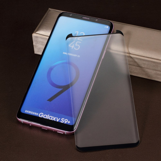 SAMSUNG GALAXY S9 PLUS KALJENO STEKLO FIT S POTISKOM ČRN - CASE FRIENDLY