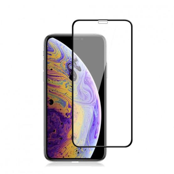 IPHONE XS MAX / IPHONE 11 PRO MAX FIT KALJENO STEKLO S POTISKOM ČRN - FULL GLUE
