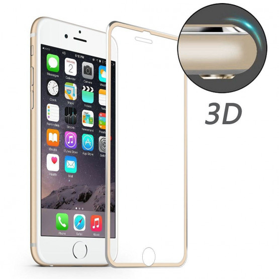 IPHONE 7 / IPHONE 8 ALU-EDGE KALJENO STEKLO FIT S POTISKOM ZLAT (0,20MM)