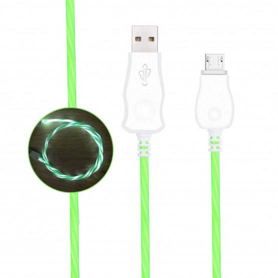 1M MICRO USB PODATKOVNO POLNILNI KABEL ZELEN Z LED OSVETLITVIJO