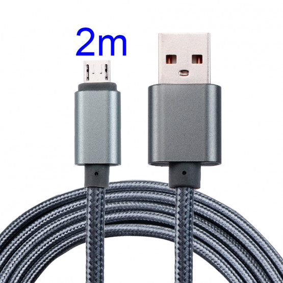 2M MIKRO USB POLNILNO PODATKOVNI UNIVERZALNI KABEL SIV
