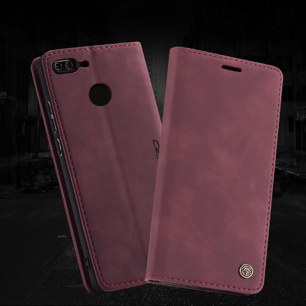 CASEME RETRO AUTO ABSORBED BORDO RDEČ ETUI ZA HUAWEI P SMART / ENJOY 7S