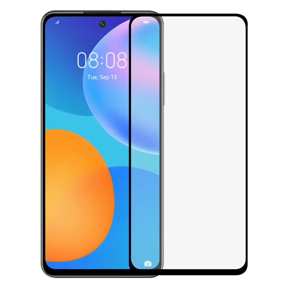 HUAWEI P SMART (2021) FIT KALJENO STEKLO S POTISKOM ČRN - FULL GLUE